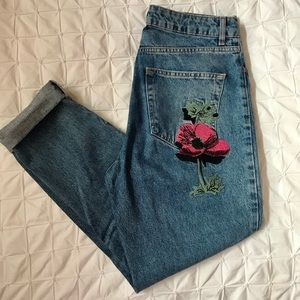 Topshop Moto Mom Jeans with Floral Embellishments